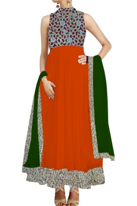 Red Anarkali Suit with cutwork york