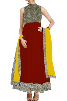 Mheroon Anarkali Suit with cutwork york
