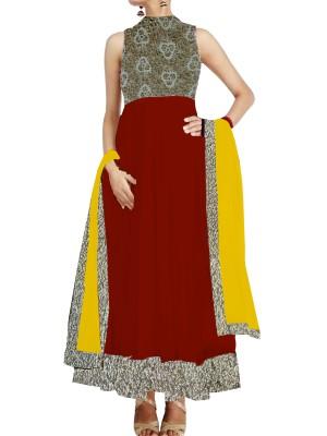 Mheroon Anarkali Suit with cutwork york