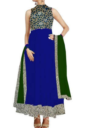 Royal Blue Anarkali Suit with cutwork york