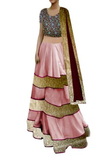 Pink Lehenga with cutwork Choli