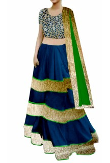 Royal Blue Lehenga with cutwork Choli
