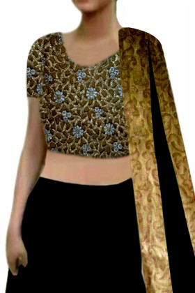 Black Lehenga with cutwork Choli