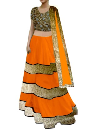 Orange Lehenga with cutwork Choli