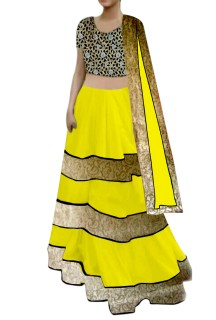 yellow Lehenga with cutwork Choli