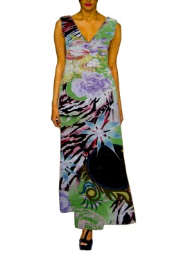 Digital Printed Cottan Long Shirt Style Gown