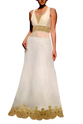 White Embroided Gown with Brocade Lehenga