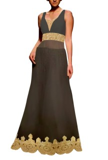 Black Embroided Gown with Brocade Lehenga