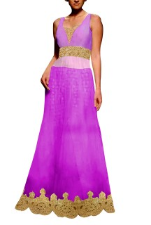 Purple Embroided Gown with Brocade Lehenga