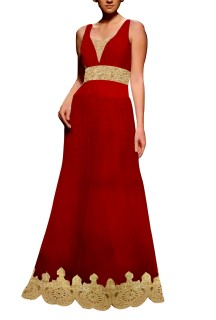 Red Embroided Gown with Brocade Lehenga