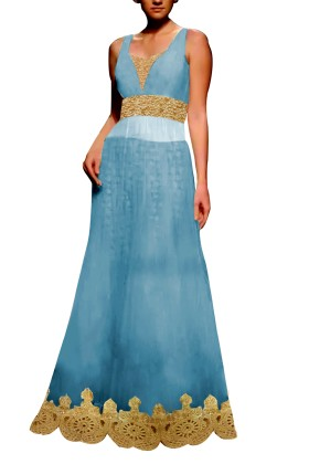 Light Blue Embroided Gown with Brocade Lehenga
