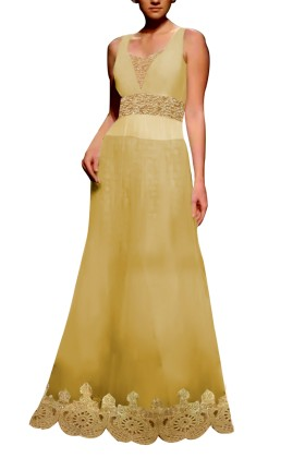 Golden Embroided Gown with Brocade Lehenga