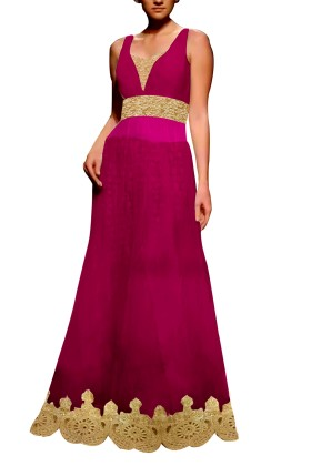 Mauve Embroided Gown with Brocade Lehenga