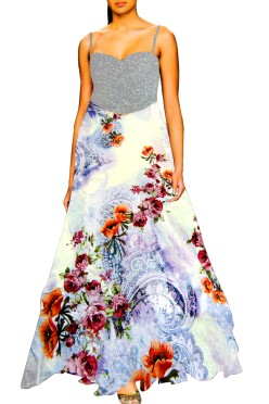 Designer Long Gown with Embroided York