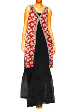 Top With Sharara Clubed With Embroided Long Jacket