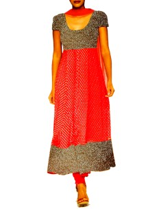 Red Anarkali Suit with embroided york & Shirt Ghera