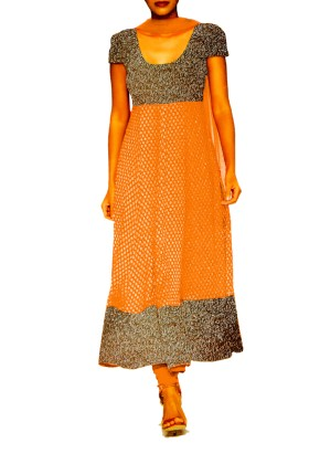 Golden Anarkali Suit with embroided york & Shirt Ghera