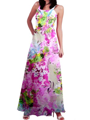 Digital Print Crepe Georgette  Long Shirt Style Gown