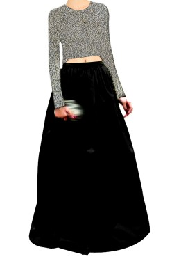 Copper  Embroided Top clubed with Black Silk Lehenga Skirt