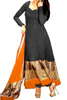 Long Anarkali Suit With Embroided Ghera