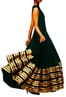 Long Anarkali Style Gown with Trimings on Ghera