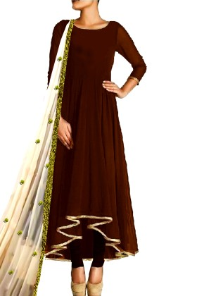 Long Anarkali Suit With Embroided Dupatta