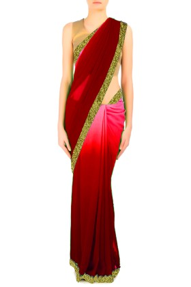 Double Shaded Saree With Embroided Border