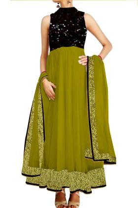 Anarkali Suit With Banarsi BrocadeYork & Embroided Ghera