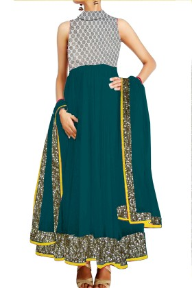 Anarkali Suit With Banarsi BrocadeYork & Embroided Ghera