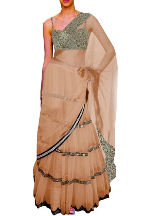 Black Embroided Choli Clubed with White Net Lehenga & Attached Duptta