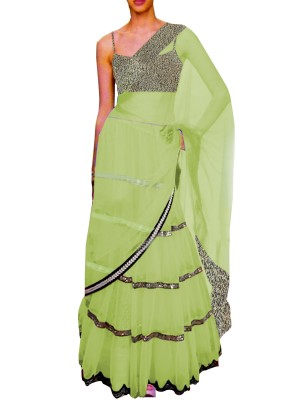 Black Embroided Choli Clubed with Light Green Net Lehenga & Attached Duptta