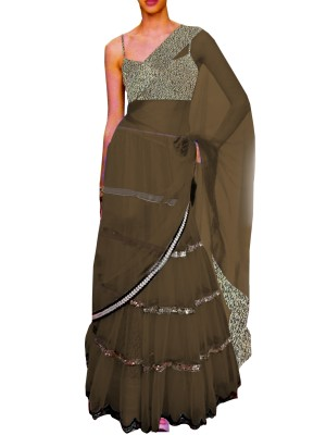 Black Embroided Choli Clubed with Gray Net Lehenga & Attached Duptta
