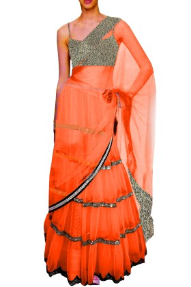 Black Embroided Choli Clubed with Orange Net Lehenga & Attached Duptta