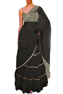 Black Embroided Choli Clubed with Black Net Lehenga & Attached Duptta