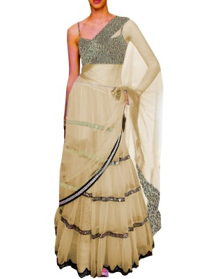 Black Embroided Choli Clubed with Golden Net Lehenga & Attached Duptta