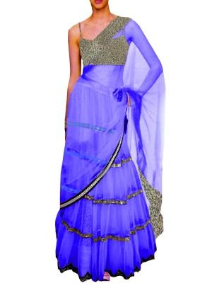 Black Embroided Choli Clubed with Royal Blue Net Lehenga & Attached Duptta