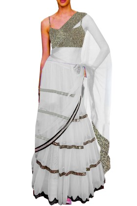 White Embroided Choli Clubed with White Net Lehenga & Attached Duptta
