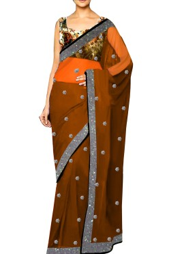 Ethnic Georgette Embroided Saree with Printed Velvet Blouse
