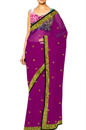Women's Ethnic Georgette Embroided Saree & Printed Velvet Blouse Free Size
