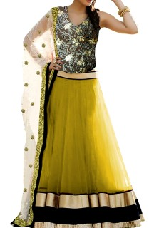 Ethnic Net Lehenga with Printed Embrosed Velvet Choli