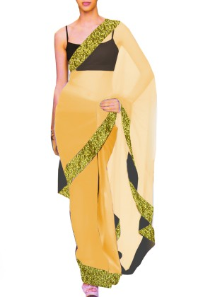 Designer Net Saree with Contrast Blouse