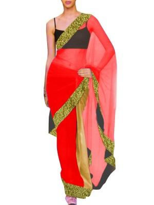 Designer Double Colour Georgette Saree with Contrast Blouse