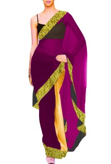 Designer Double Colour Georgette Saree with Contrast Blouse