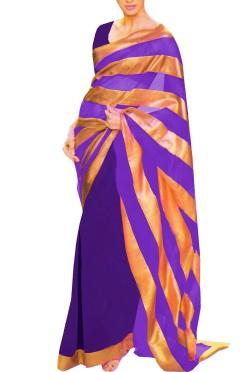 Designer Double Colour Georgette Saree with Gota Borders
