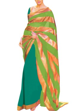 Designer Double Colour Georgette Saree with Gota Borders