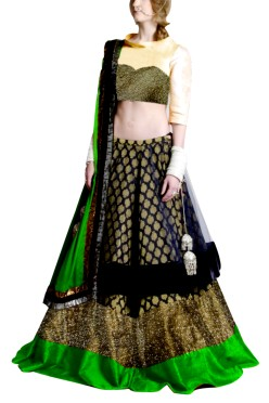 Golden Embroided York Style Choli with Double layer  Lehenga Clubed with Green Duptta
