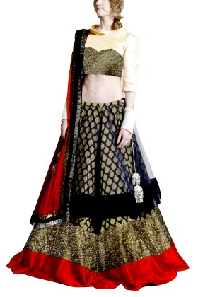 Golden Embroided York Style Choli with Double layer  Lehenga Clubed with Red Duptta