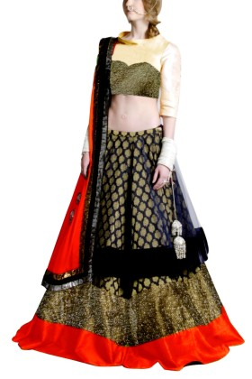 Golden Embroided York Style Choli with Double layer  Lehenga Clubed with Bright Orange Duptta