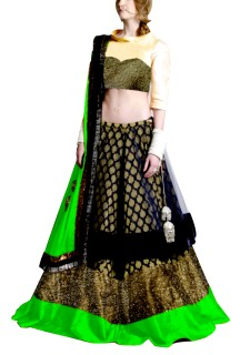 Golden Embroided York Style Choli with Double layer  Lehenga Clubed with Parrot Green Duptta