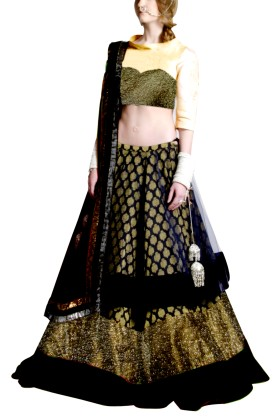 Golden Embroided York Style Choli with Double layer  Lehenga Clubed with Black Duptta